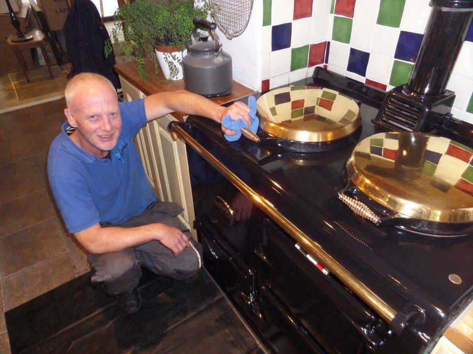 Paul cleaning a rare Gold Plated Aga - OvenMagic